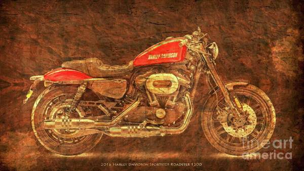Wall Art - Digital Art - Harley Davidson Classic Bike, Original Gold And Red Art Print  by Drawspots Illustrations