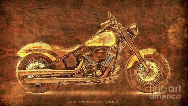 Wall Art - Digital Art - Harley Davidson Classic Bike, Original Golden Art Print For Man Cave by Drawspots Illustrations