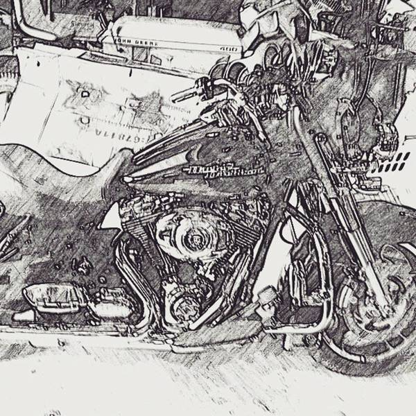 Illustration Wall Art - Photograph - Harley Davidson Garage by Drawspots Illustrations