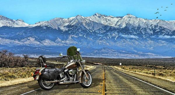 Wall Art - Mixed Media - Harley Davidson Heritage Motorcycle On The Doorstep Of The Rockies, Colorado by Thomas Pollart