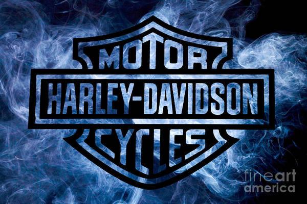 Logo Wall Art - Digital Art - Harley Davidson Logo Blue by Randy Steele