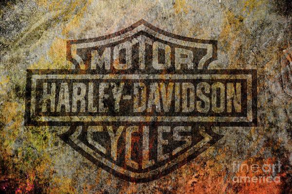 Shops Digital Art - Harley Davidson Logo Grunge Metal by Randy Steele