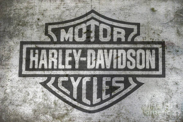 Engine Wall Art - Digital Art - Harley Davidson Logo On Metal by Randy Steele
