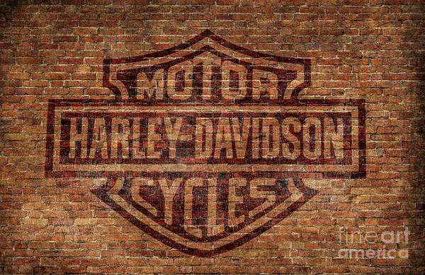 Red Brick Digital Art - Harley Davidson Logo Red Brick Wall by Randy Steele