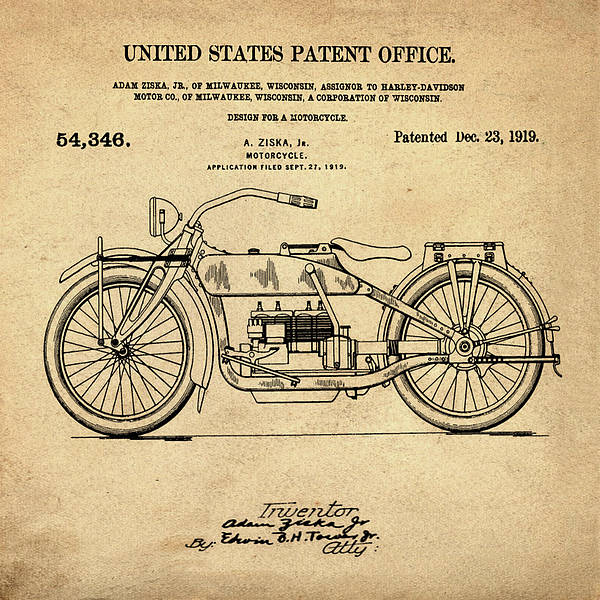 Wall Art - Digital Art - Harley Davidson Motorcycle Patent 1919 In Sepia by Bill Cannon