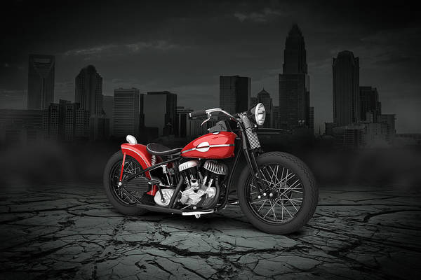 Wall Art - Digital Art - Harley Davidson Wla  Bobber 1945 City Background by Aged Pixel