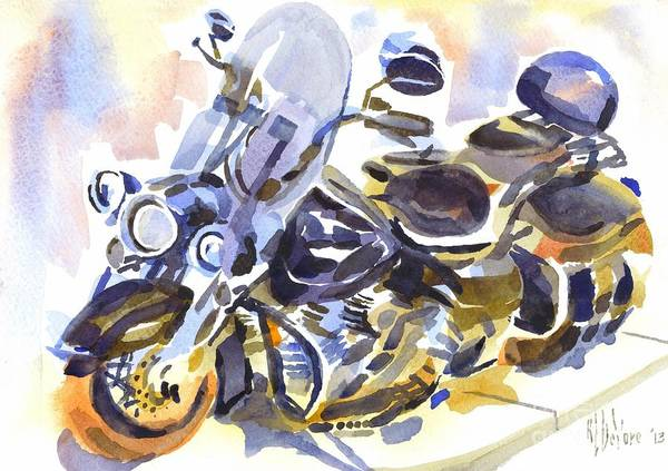 Painting - Motorcycle In Watercolor by Kip DeVore