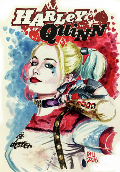 Harley Quinn Wall Art - Painting - Harley by Ken Meyer