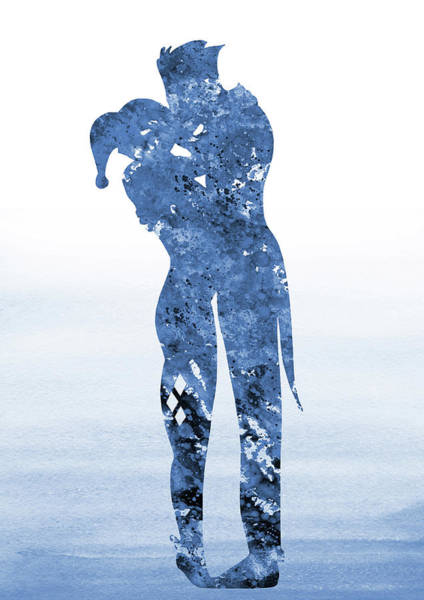 Harley Quinn Wall Art - Digital Art - Harley Quinn And Joker-blue by Erzebet S