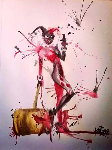 Harley Quinn Wall Art - Painting - Harley Quinn by Kariz Xo