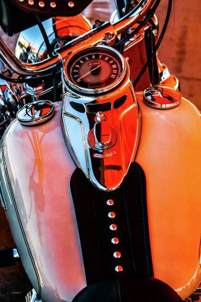 Photograph - Harley Under Orange Glow 1478 H_2 by Steven Ward