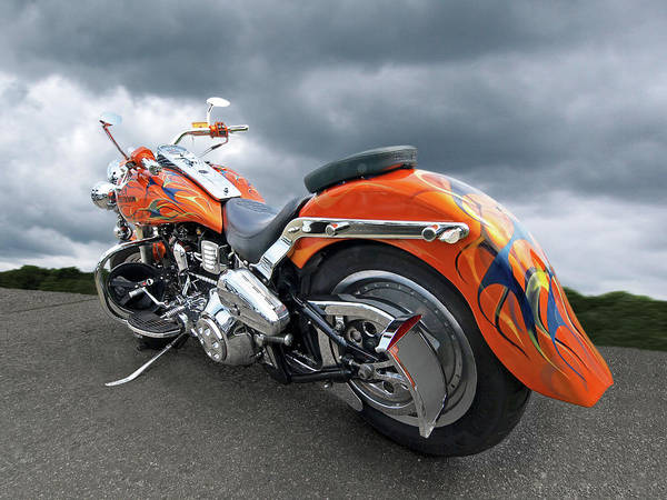 Photograph - Harley With Flames by Gill Billington