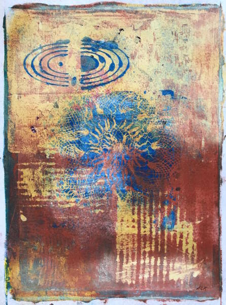Monotype Mixed Media - Harmonic Convergence by Susan Richards