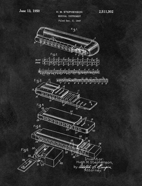 Wall Art - Drawing - Harmonica Patent Blueprint by Dan Sproul