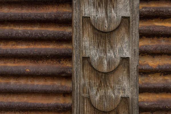 Photograph - Harmonious Interplay - Rusty Metal Corduroy And Weathered Wood by Georgia Mizuleva