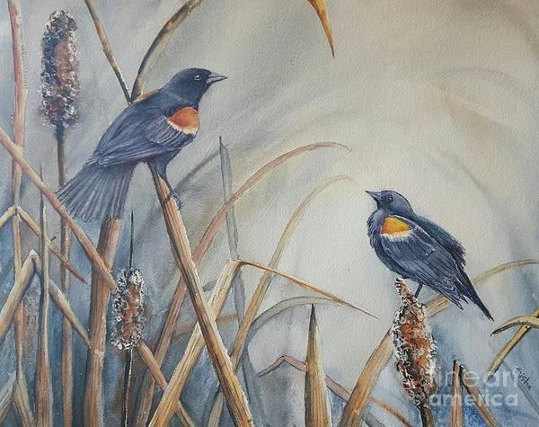 Bullrush Painting - Harmony by Patricia Pushaw