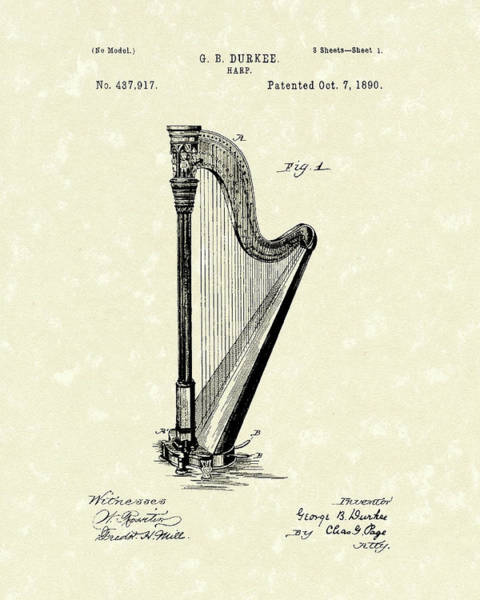 Drawing - Harp 1890 Patent Art by Prior Art Design