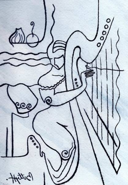 Wall Art - Drawing - Harp And Its Player by Elisabeta Hermann