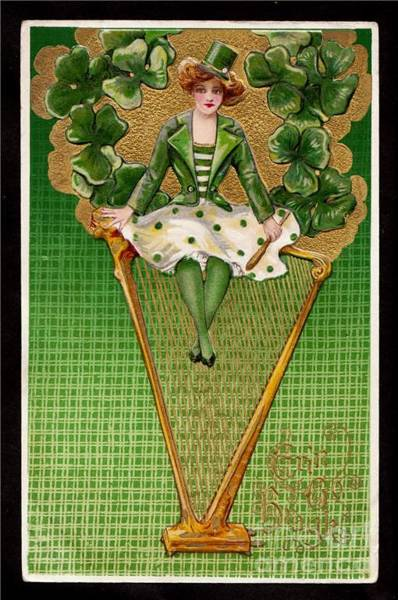 Hundred Mixed Media - Harp And Shamrock by Hundred Years Ago Artist