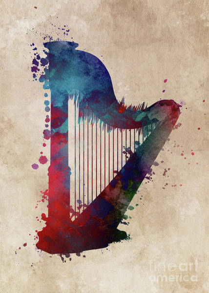 Harp Digital Art - Harp Art Music Instrument by Justyna Jaszke JBJart