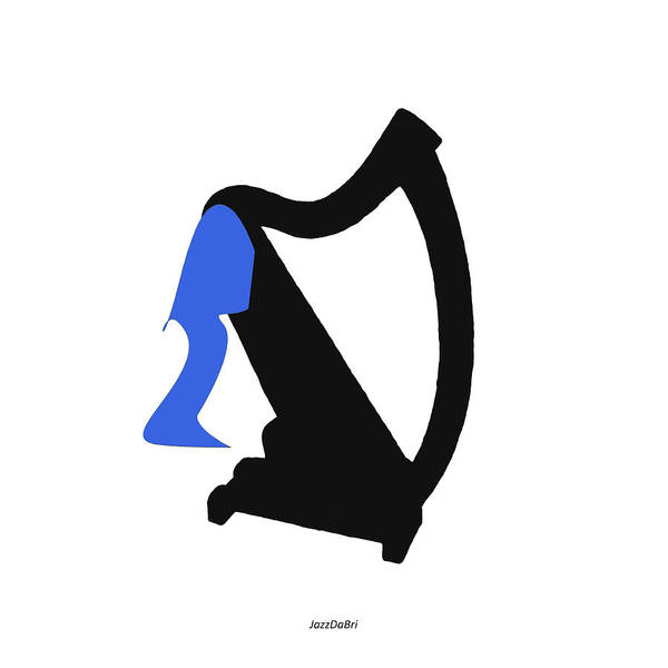 Wall Art - Digital Art - Harp In Blue by David Bridburg