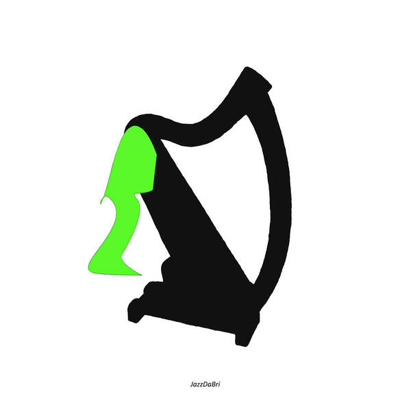 Digital Art - Harp In Green by David Bridburg