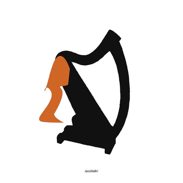 Digital Art - Harp In Orange by David Bridburg