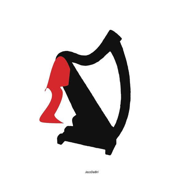 Digital Art - Harp In Red by David Bridburg