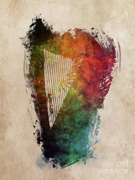 Harp Digital Art - Harp Music Instrument by Justyna Jaszke JBJart