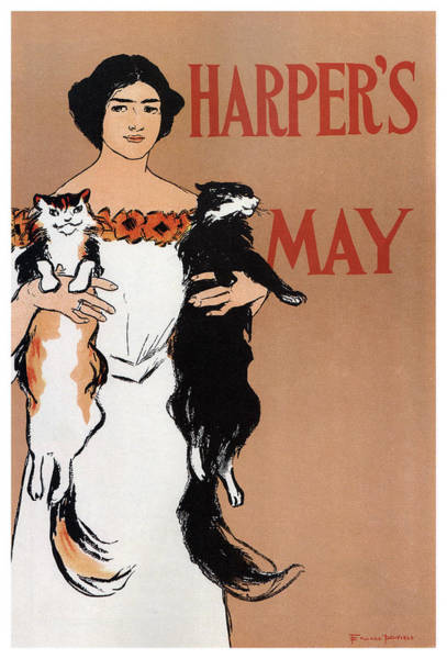 White Cat Mixed Media - Harper's Magazine - Magazine Cover - Vintage Art Nouveau Poster by Studio Grafiikka