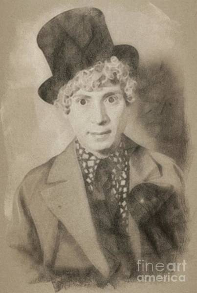 Pinewood Drawing - Harpo Marx, Comedy Legend By John Springfield by John Springfield