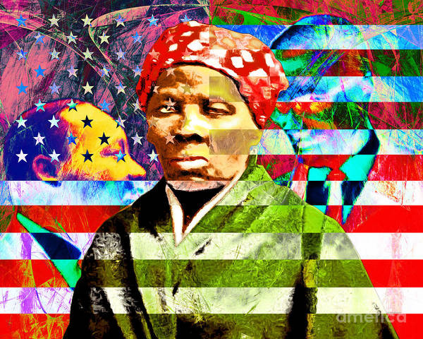 Photograph - Harriet Tubman Martin Luther King Jr Malcolm X American Flag by Wingsdomain Art and Photography