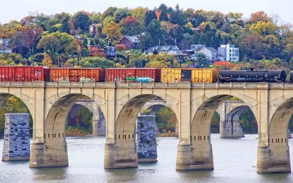 Photograph - Harrisburg Trains Crossing by Alice Gipson