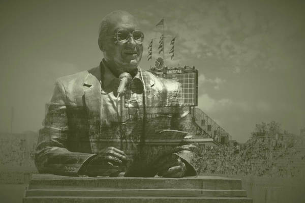 Jon Lester Photograph - Harry Caray Statue With Historic Wrigley Scoreboard by Thomas Woolworth