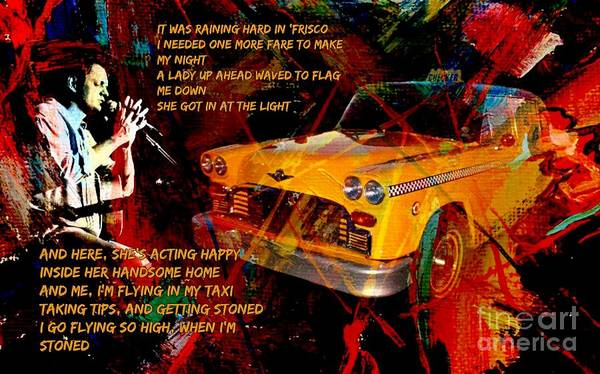 Folk Singer Mixed Media - Harry Chapin Taxi Song Poster With Lyrics by John Malone