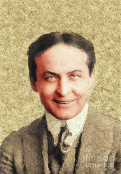 Wall Art - Painting - Harry Houdini, Famous Magician by John Springfield