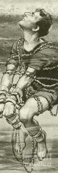 Wall Art - Painting - Harry Houdini, Handcuffed And In Chains, Underwater by English School
