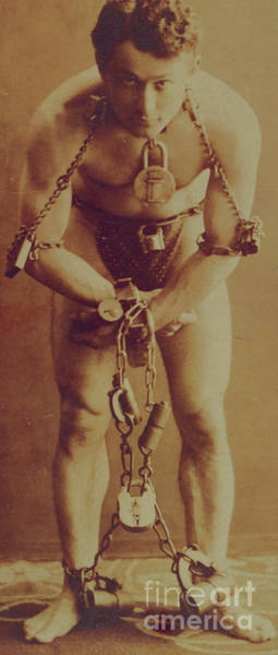 Wall Art - Photograph - Harry Houdini In Chains by American School