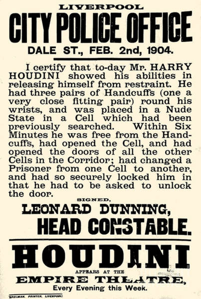 Trick Drawing - Harry Houdini Police Statement, 1904 by English School