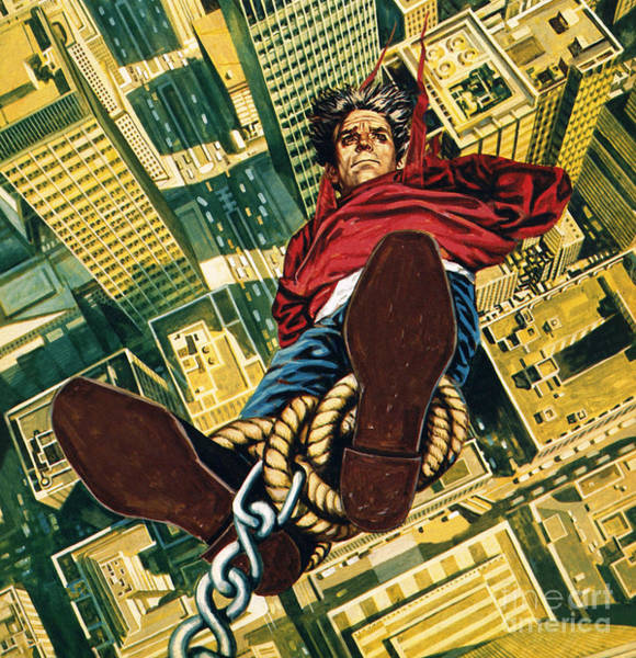 Wall Art - Painting - Harry Houdini Suspended From The Top Of A New York Skyscaper by English School