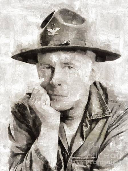 Wall Art - Painting - Harry Morgan, Vintage Actor By Mary Bassett by Mary Bassett