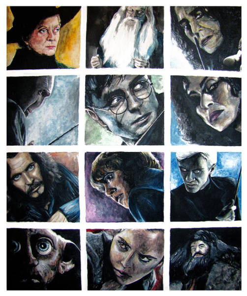 Snape Wall Art - Painting - Harry Potter Cast by Sarah Stonehouse