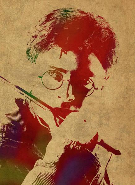 Watercolor Portrait Mixed Media - Harry Potter Watercolor Portrait by Design Turnpike