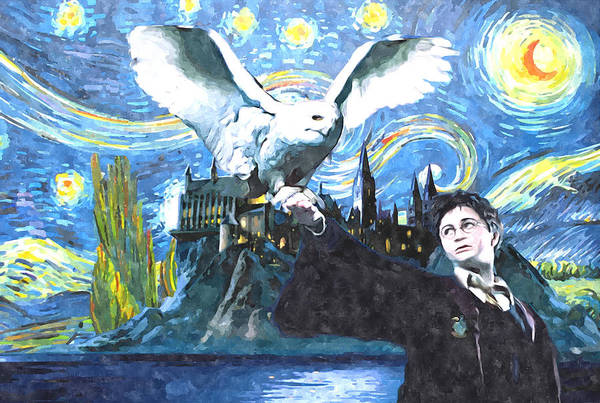 Wall Art - Digital Art - Harry Potter Starry Night With Owl by Midex Planet