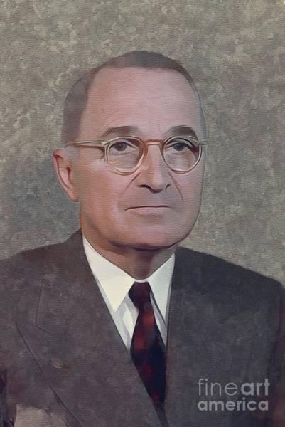 Wall Art - Painting - Harry S. Truman, President by Mary Bassett
