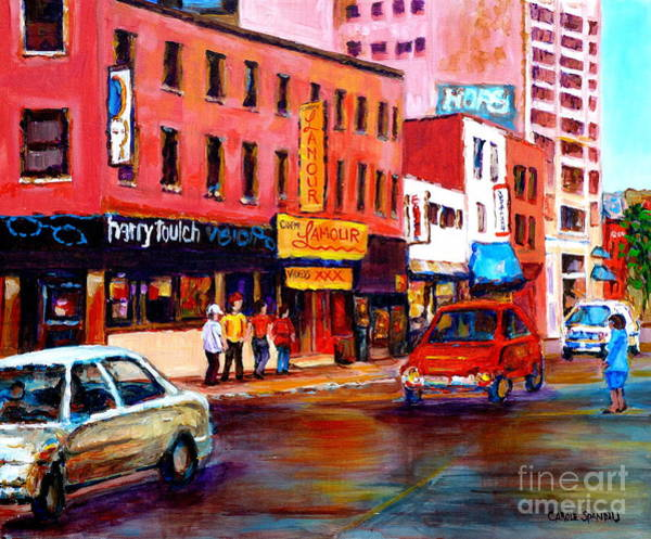 Painting - Harry Toulch Eyewear Landmark Cinema L'amour Montreal Memories Carole Spandau Street Scene Artist by Carole Spandau