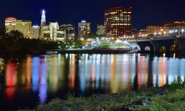 Conn Wall Art - Photograph - Hartford Lights Up With Many Colors by Frozen in Time Fine Art Photography