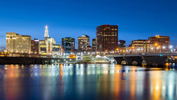 Photograph - Hartford Skyline And Founders Bridge At Dusk by Mihai Andritoiu