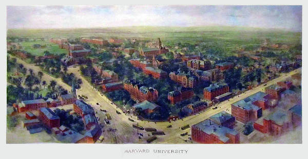 College Campus Painting - Harvard 1906 by Mountain Dreams