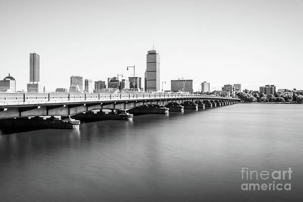 Hancock Tower Photograph - Harvard Bridge Boston Skyline Black And White Photo by Paul Velgos